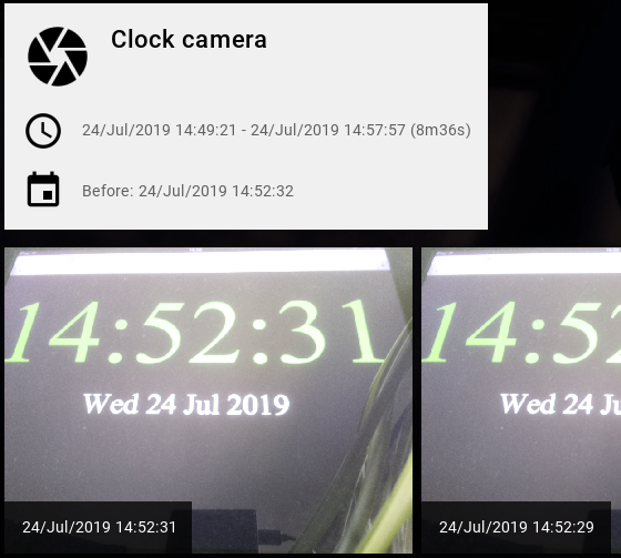 View camera image timelines